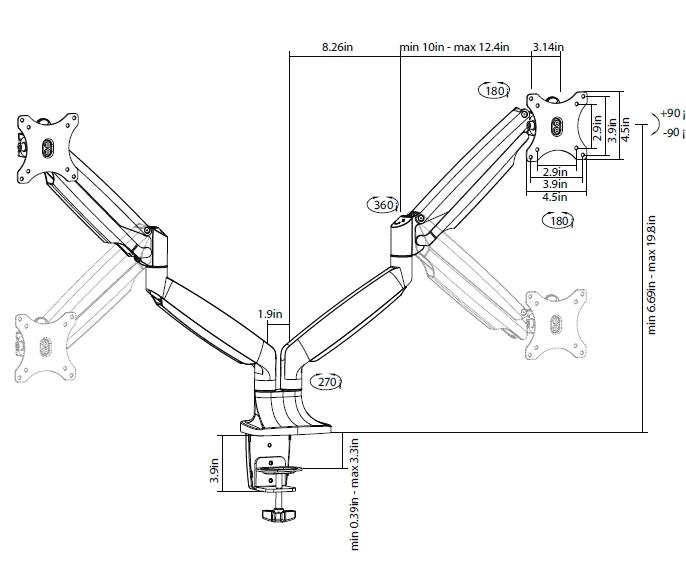 DMC230inch Interactive Motion Monitor Mounts - Pro Series