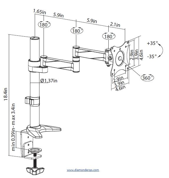 dmca110-1 Adjustable Height Articulating Mounts  - Pro Series