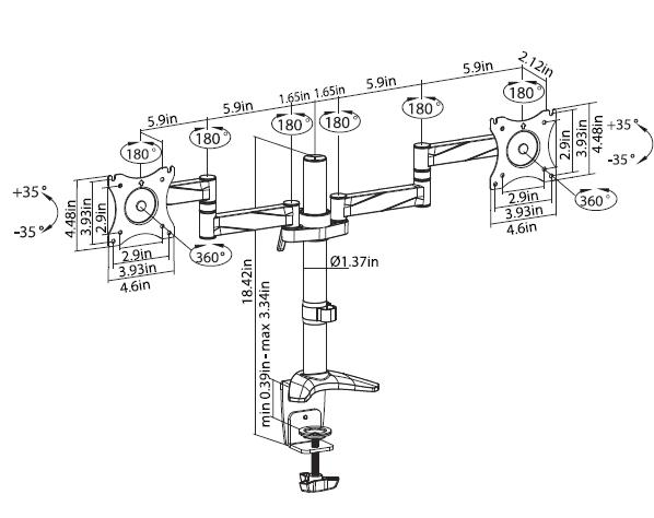 dmca210inch Adjustable Height Articulating Mounts - Pro Series